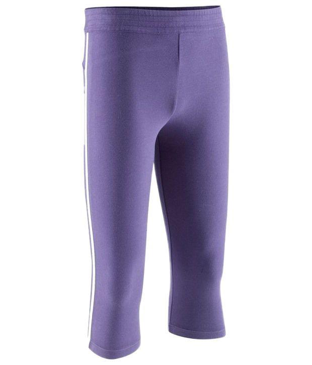 Domyos Violet Cropped Fitness Leggings For Girls