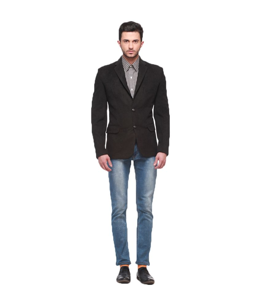 Jogur Black Cotton Blend Formal Blazer