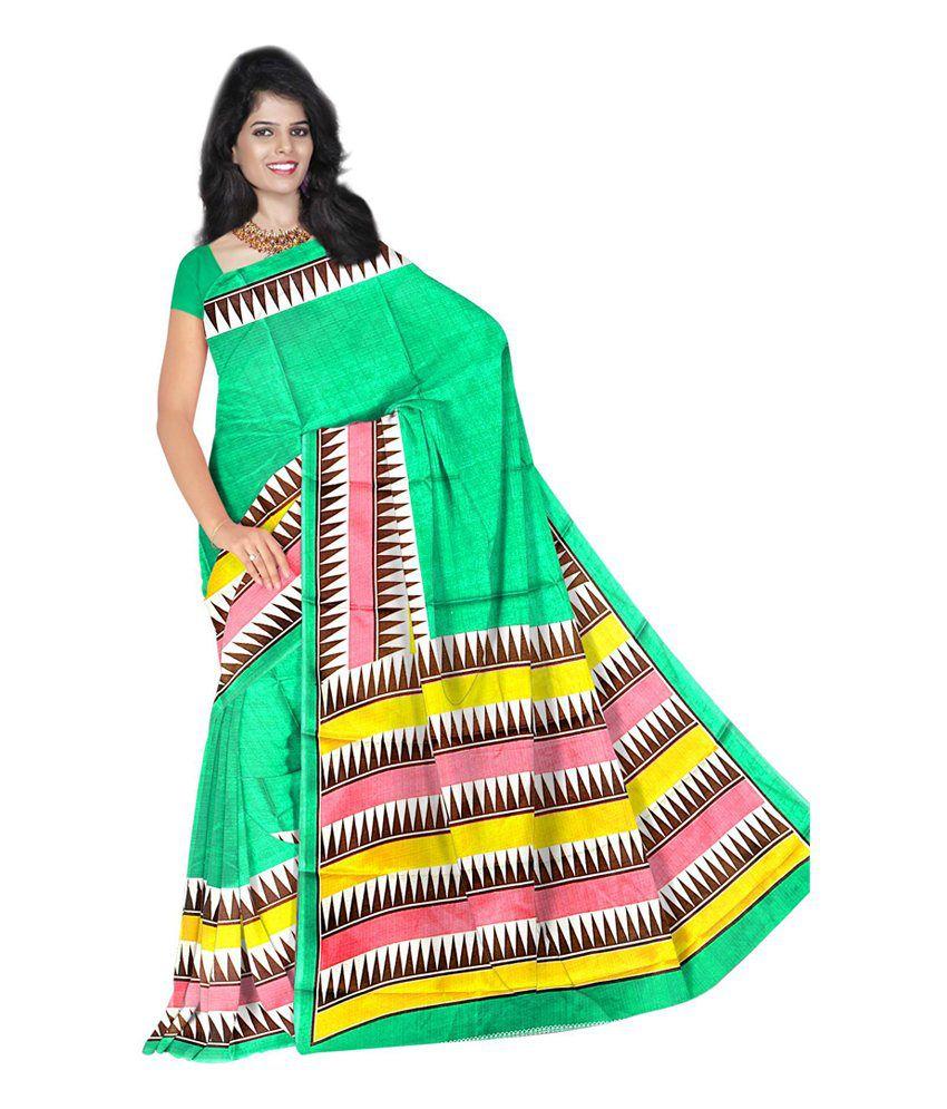 Sheryl Trendz Green Bhagalpuri Silk Saree