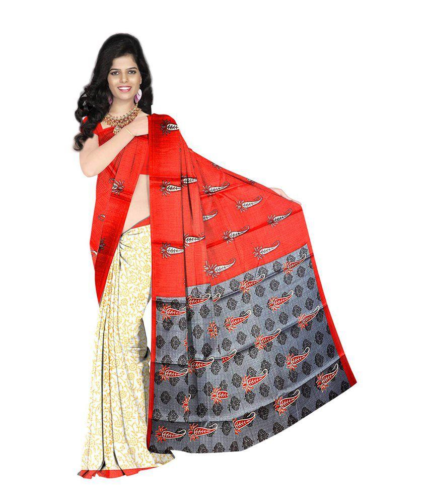 Sheryl Trendz Red Bhagalpuri Silk Saree