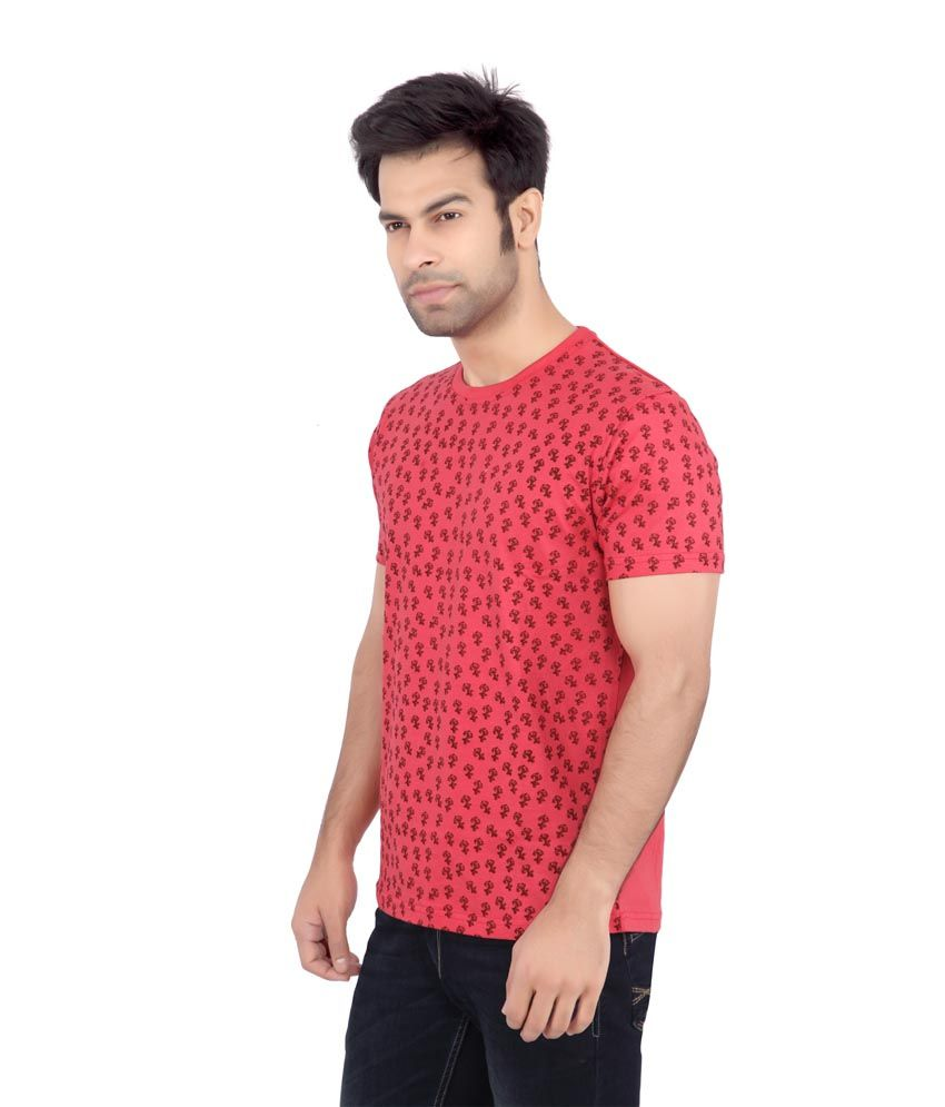 Cod Jeans Red Cotton Round Neck T Shirt