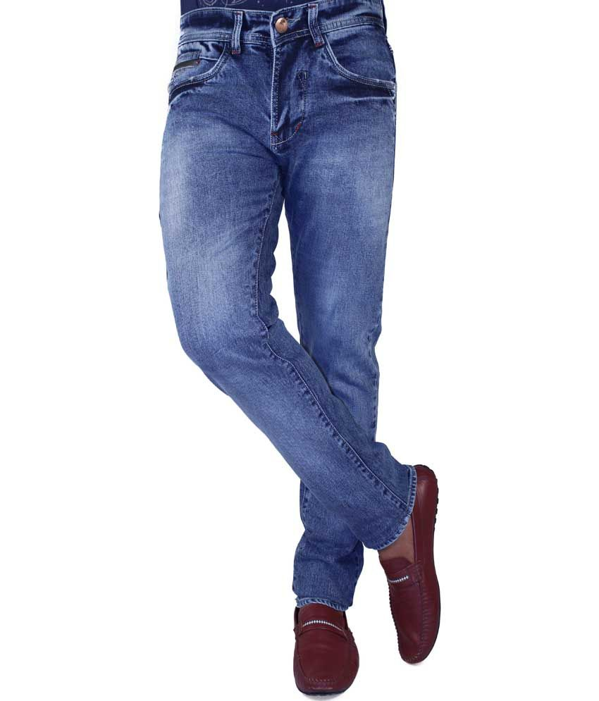 Flying Port Blue Cotton Blend Slim Fit Faded Jeans For Men