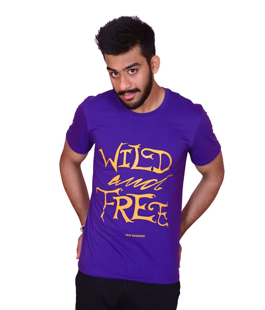 Casual Printed Purple Round Neck T-shirt
