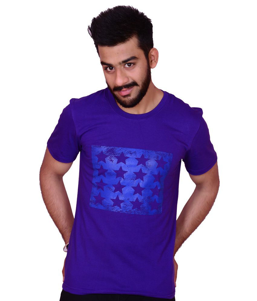 Casual Printed Round Neck Purple T-shirt