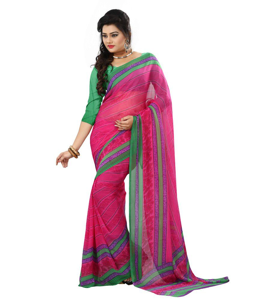 Kartik Creation Pink Faux Georgette Saree