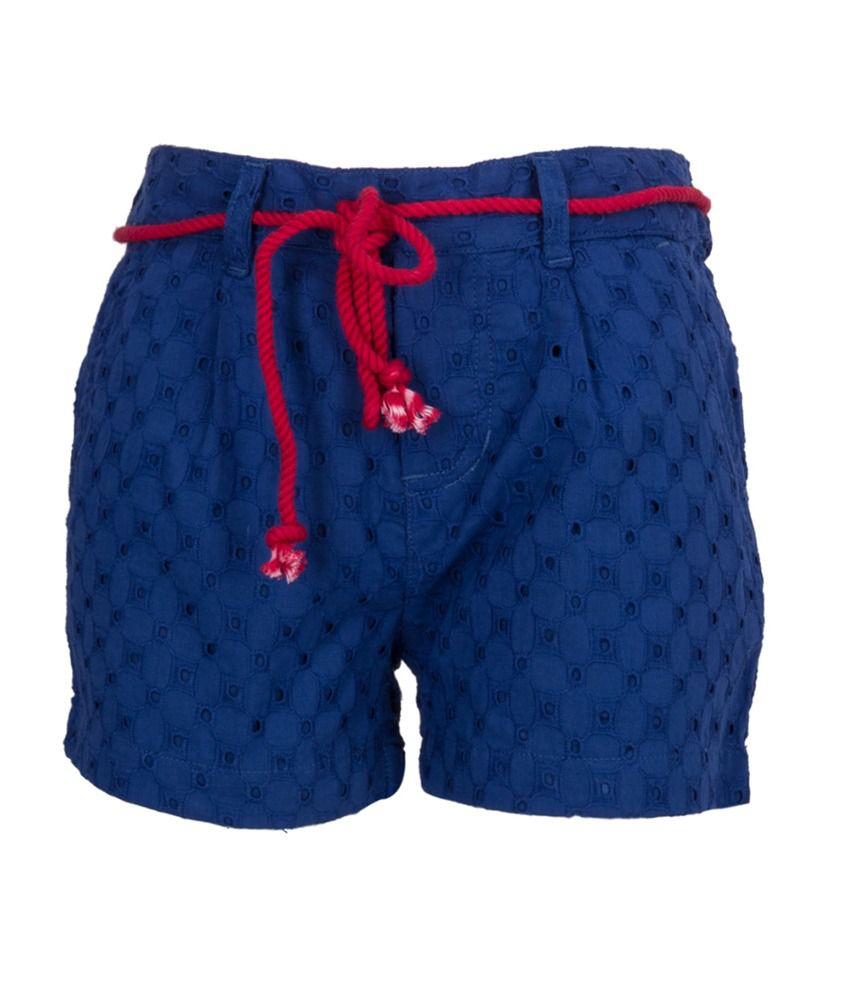 Miss Alibi Blue Cotton Shorts