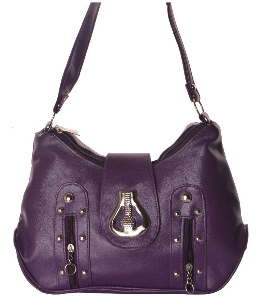 Zakasdeals Purple Leather Shoulder Bags