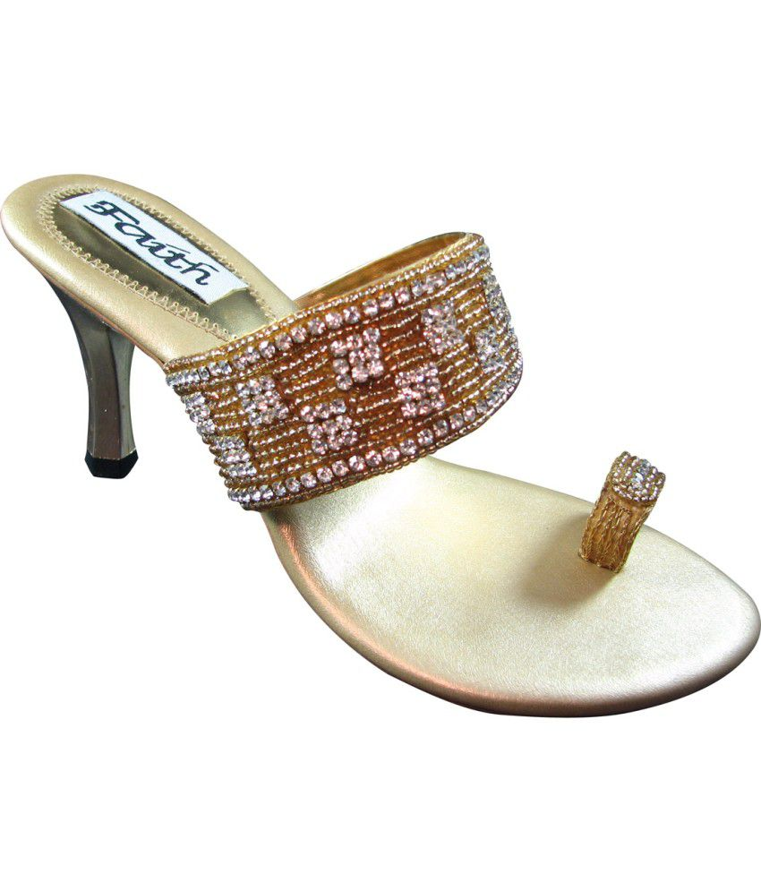 Faith Golden Women Ethnic Sandals