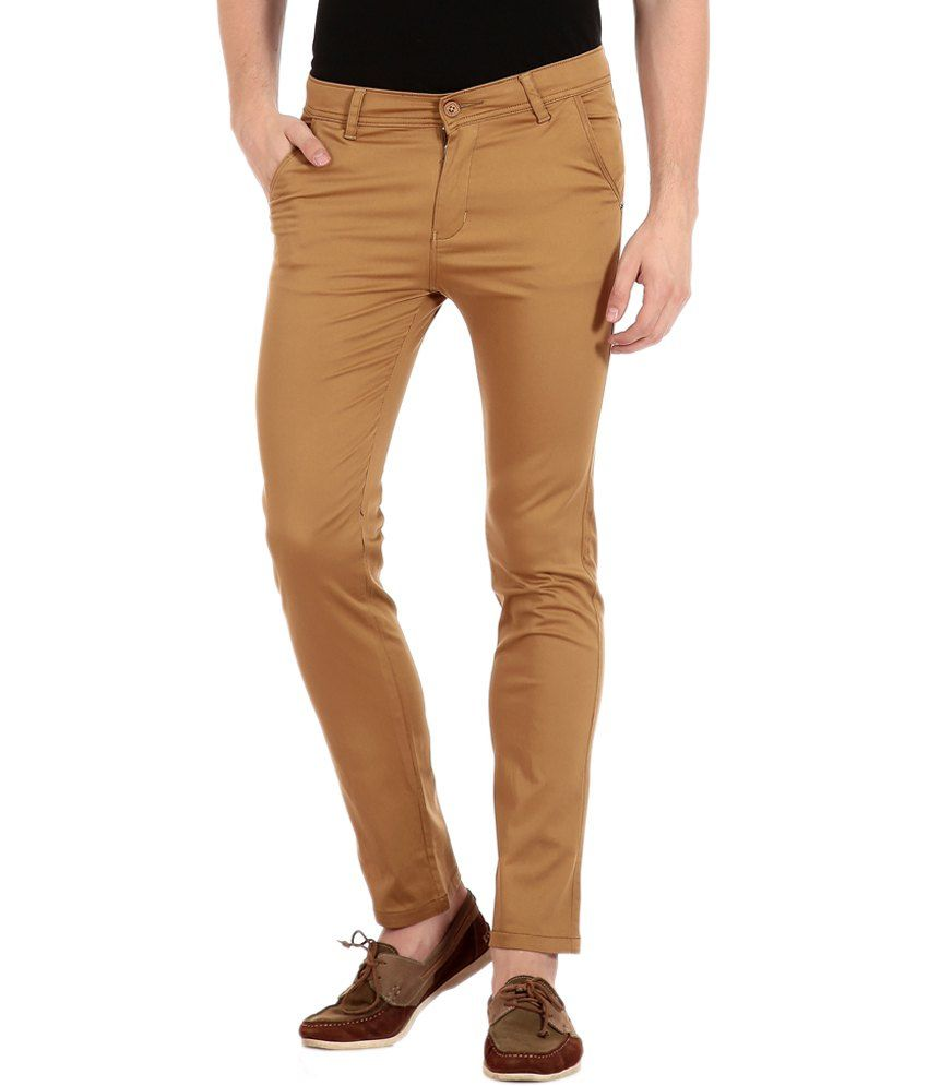 Flyjohn Beige Cotton Slim Casual Chinos