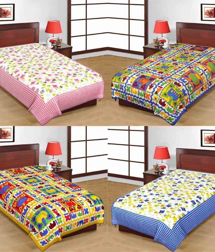Kismat Collection Combo Of 100% Cotton UniqStyliner Traditional Single Bed  Sheets ...