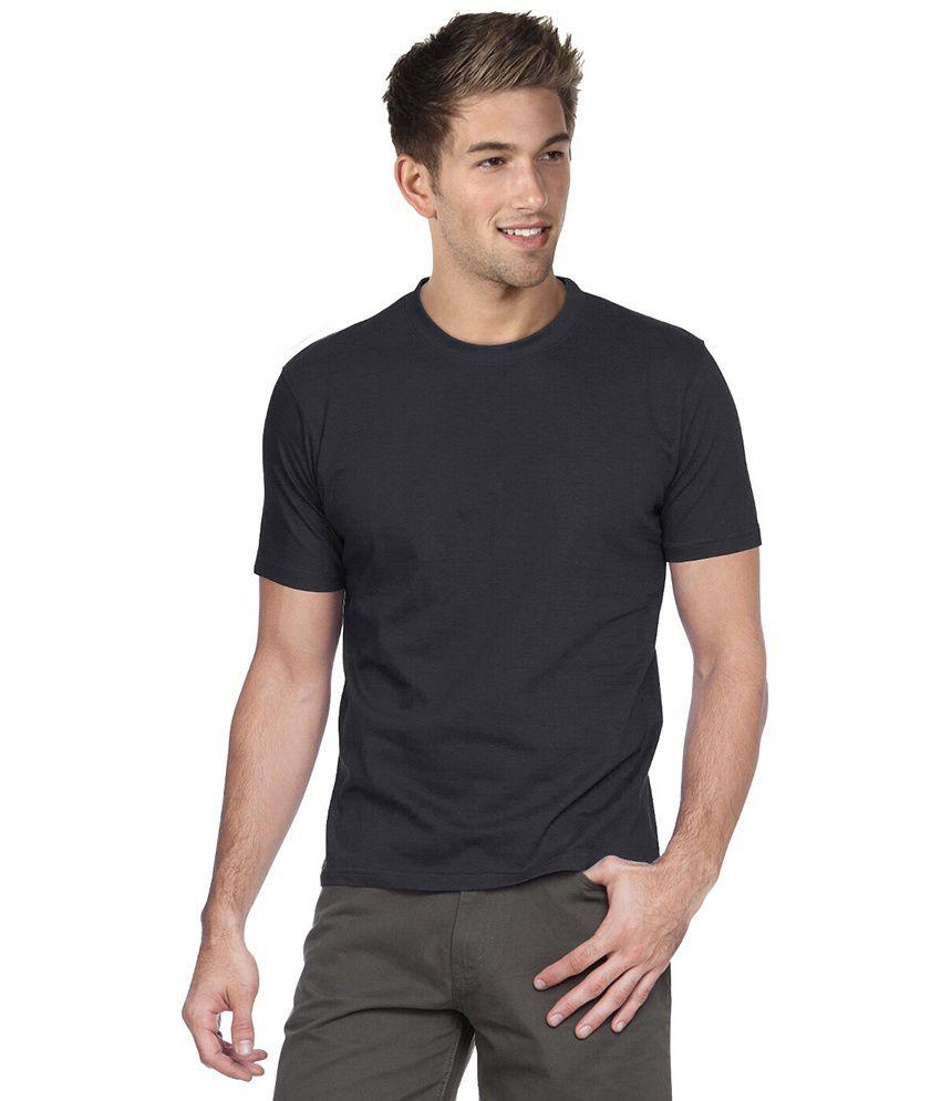 Apple Knit Fashion Black Cotton Basics T-Shirt