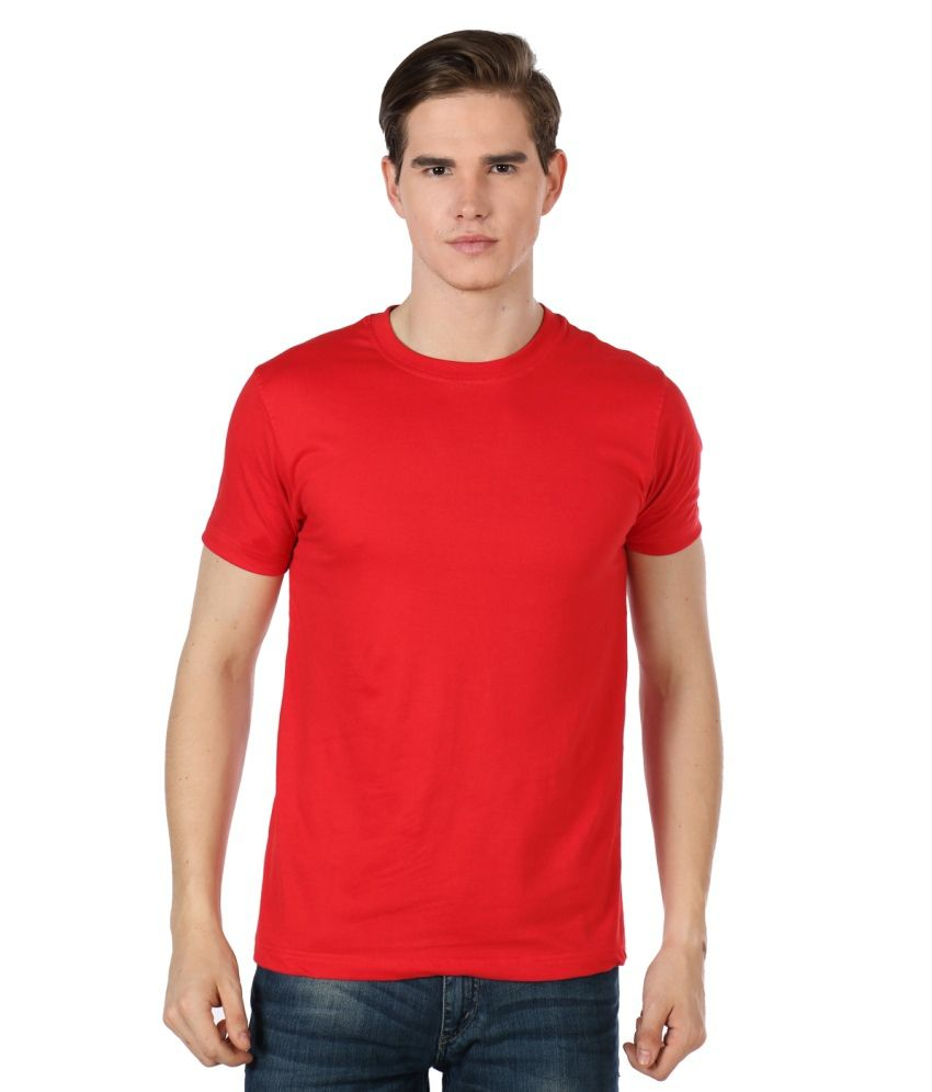 Apple Knit Fashion Red Cotton Basics T-Shirt