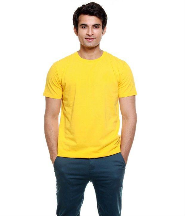 Apple Knit Fashion Yellow Cotton Basics T-Shirt