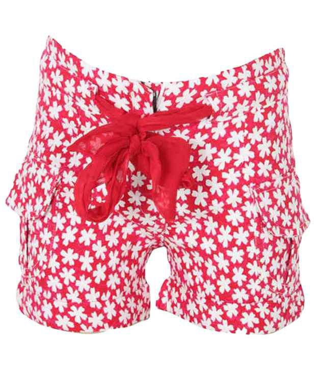 Eight 26 Red & White Cotton Shorts For Girls