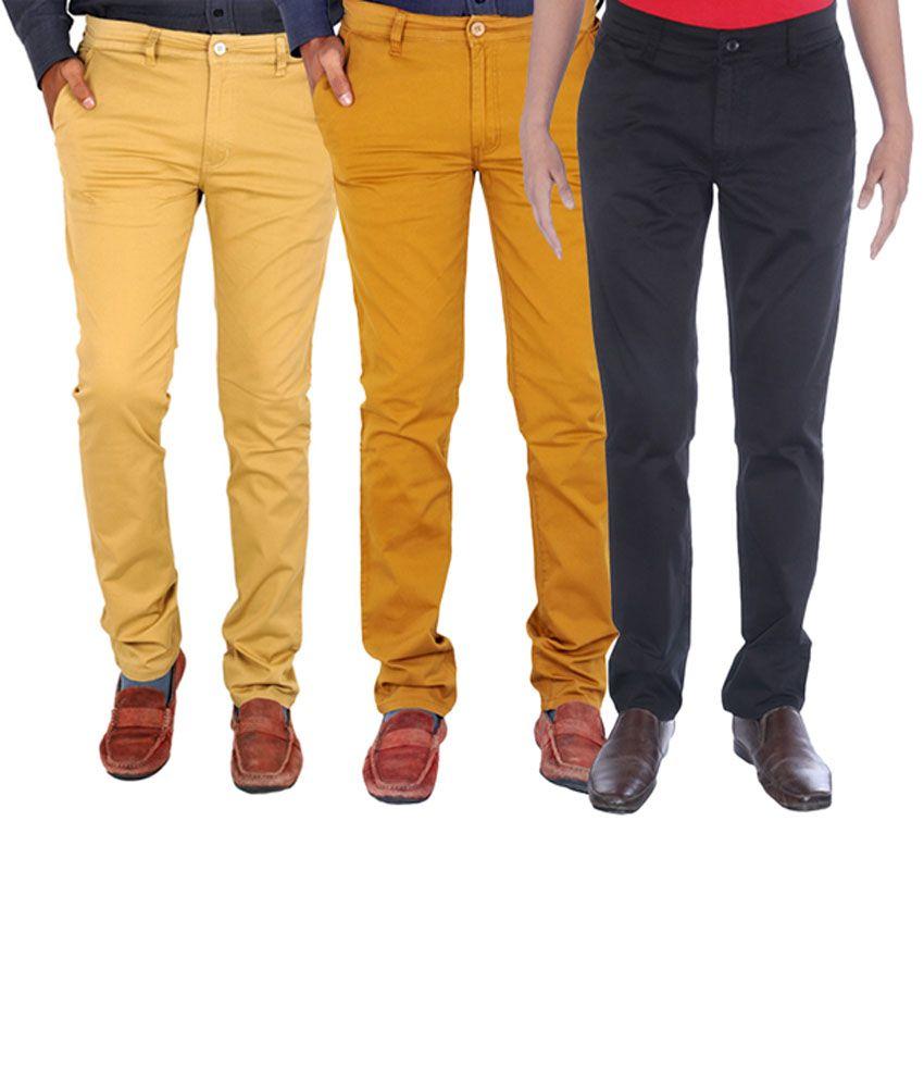INDIGEN Brown, Black & Beige Casual Chinos (Pack of 3)