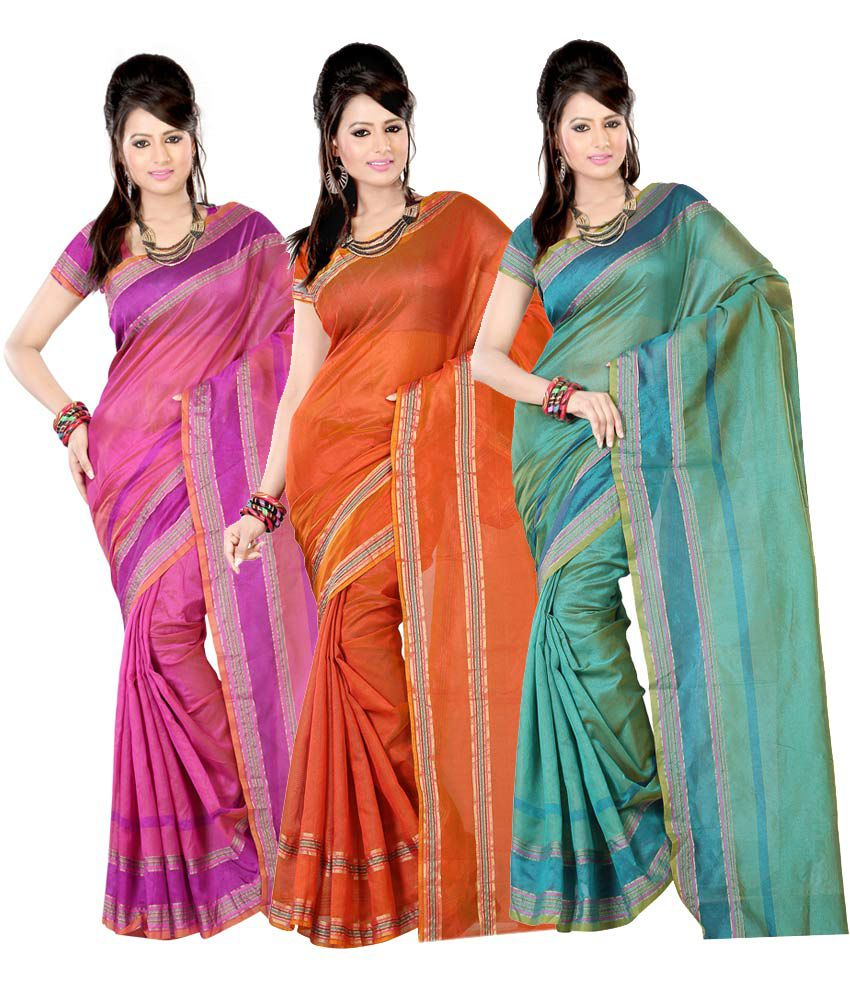 Karm Yogi Creation Multicolor Saree Combo - Pack of 3