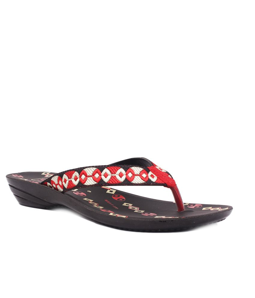 Aalishan Red Flat Synthetic Flip Flops