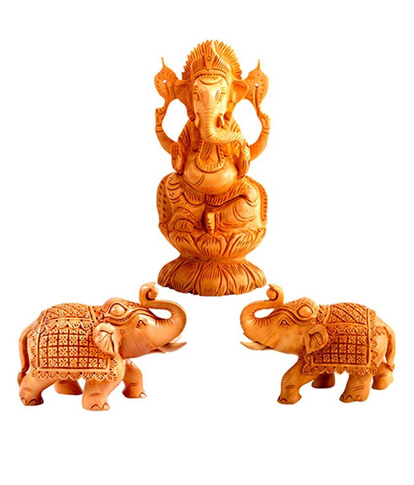 Bensiln Brown Wooden Ganesha With Two Elephant