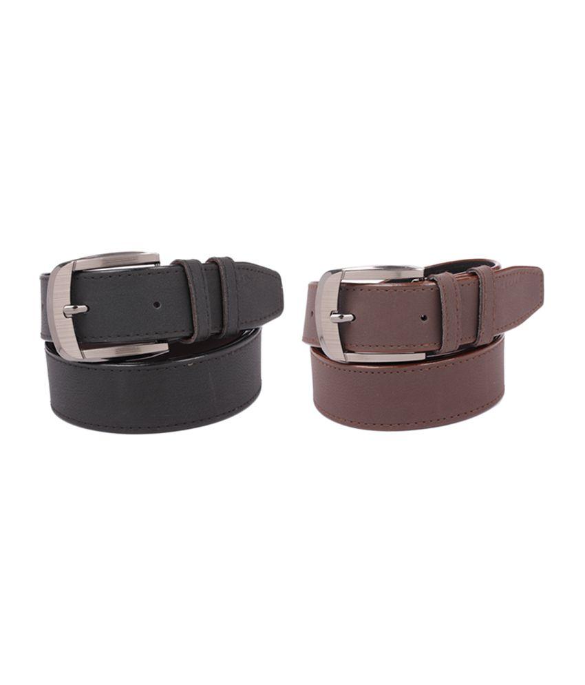 Fedrigo Black & Brown Casual Belt - Combo