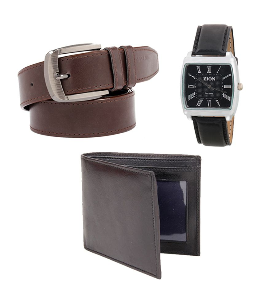 Fedrigo Brown Casual Shine Belt with Wallet & Zion Black Dial Watch - Combo