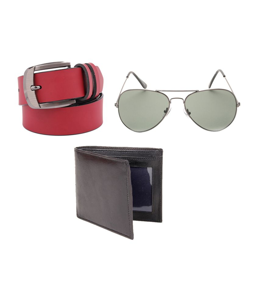 Fedrigo Red Casual Belt with Wallet & Sunglasses - Combo