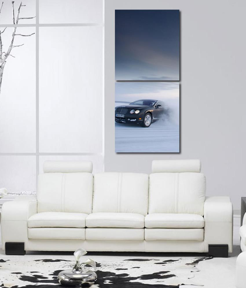 999store Glossy Printed Cars Like Modern Wall Art Painting With Frame -2 Frames