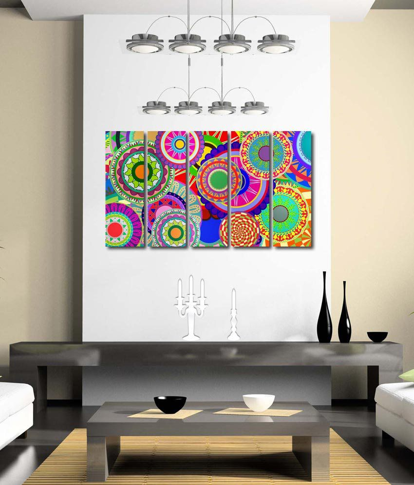 999store Glossy Printed Colourful Circles Like Modern Wall Art Painting With Frame - 5 Frames