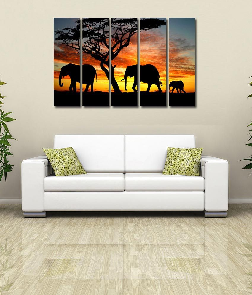 999store Glossy Printed Elephants Like Modern Wall Art Painting With Frame - 5 Frames