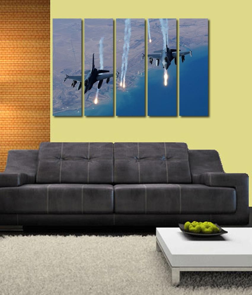 999store Glossy Printed Flying Fighter Planes Like Modern Wall Art Painting With Frame - 5 Frames