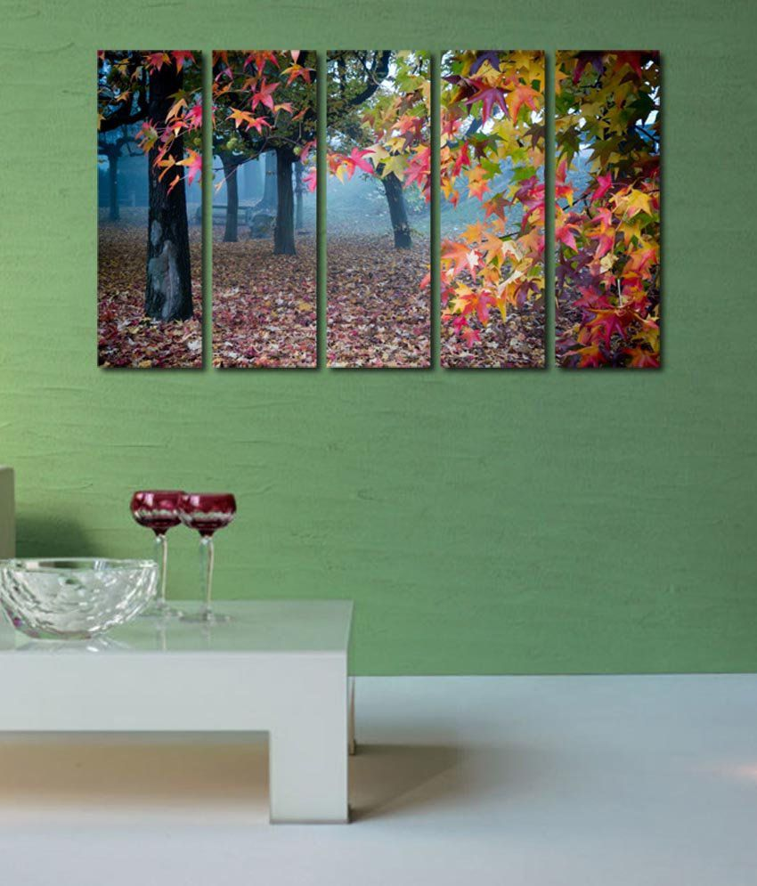 999store Glossy Printed Forest Like Modern Wall Art Painting With Frame - 5 Frames