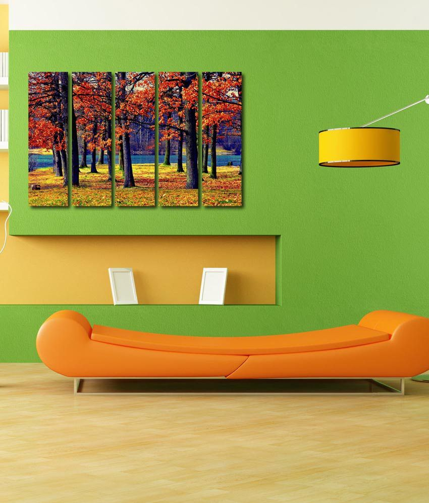 999store Glossy Printed Forest Trees Like Modern Wall Art Painting With Frame - 5 Frames