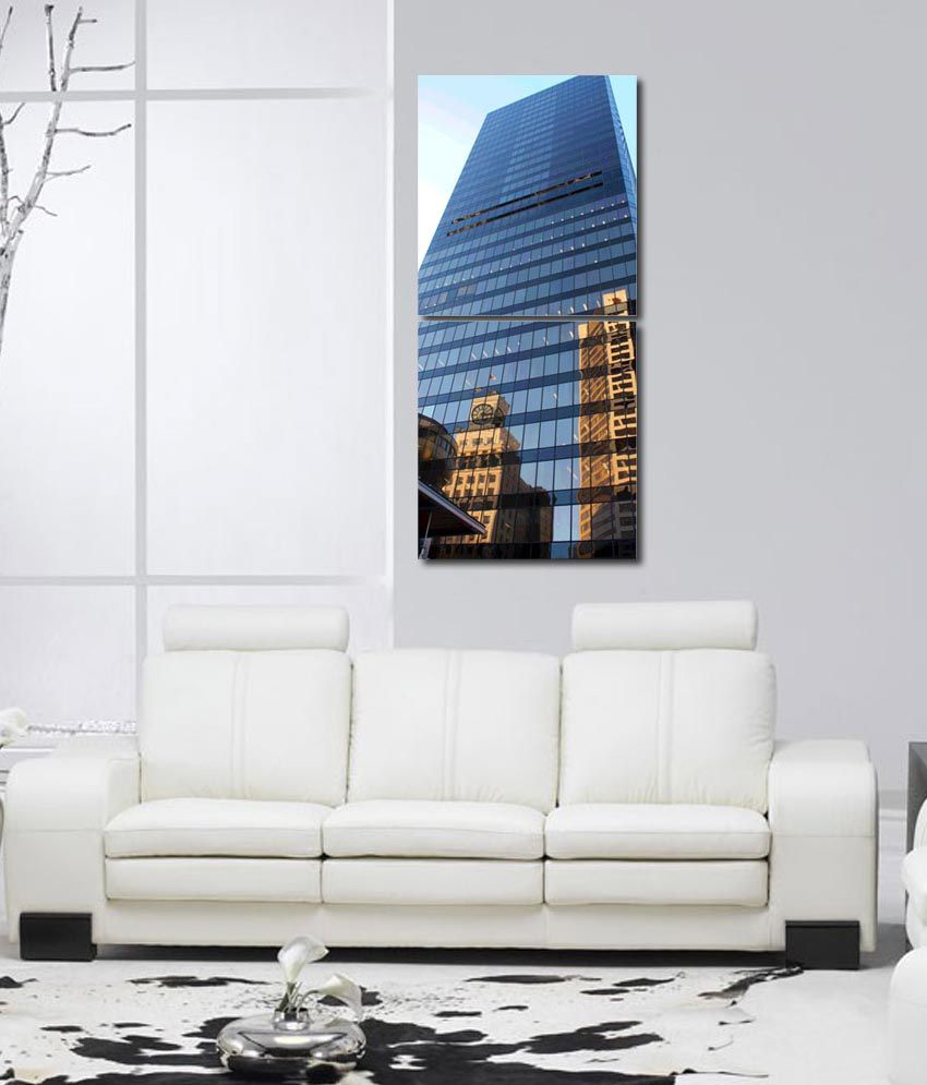 999store Glossy Printed Glass Building Modern Wall Art Painting With Frame -2 Frames