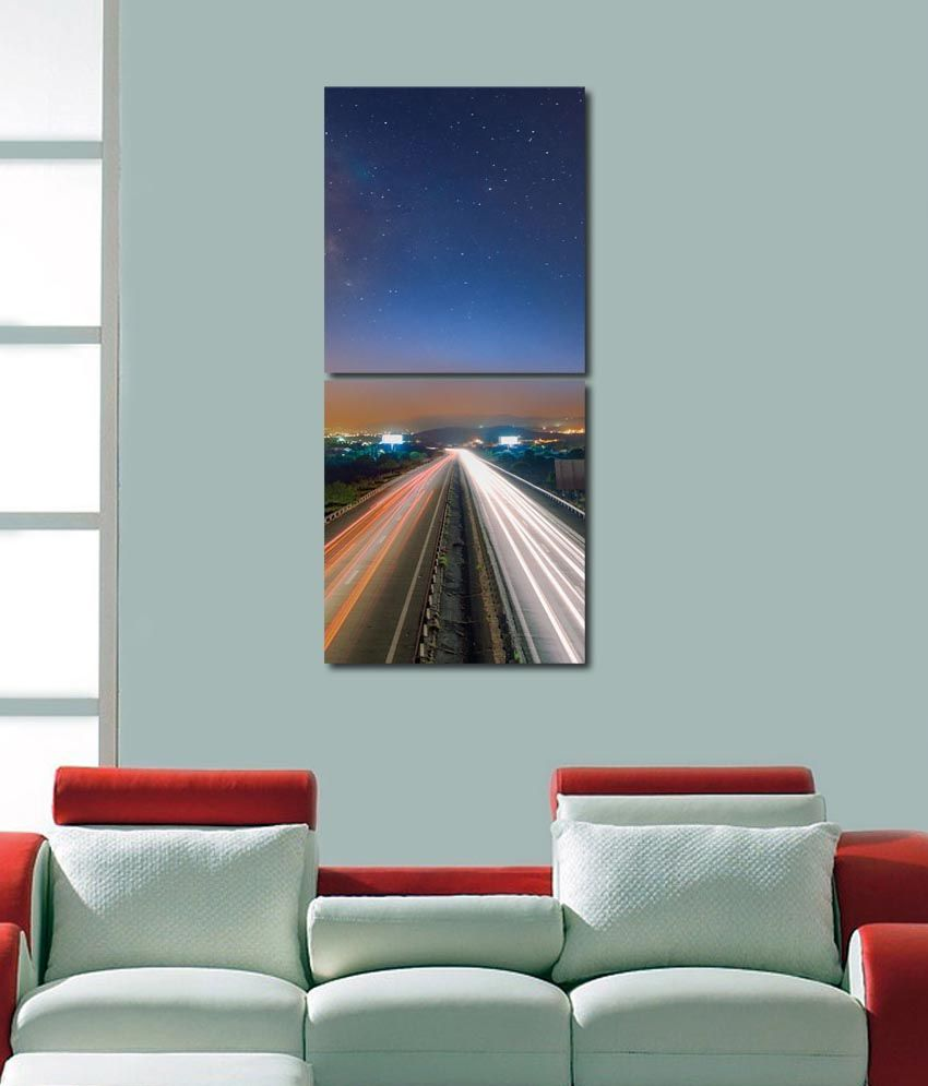 999store Glossy Printed Highway Like Modern Wall Art Painting With Frame -2 Frames