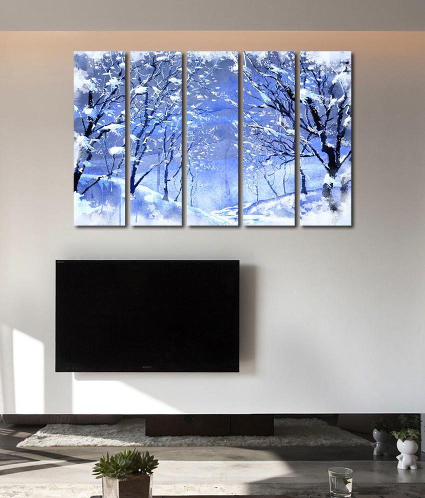 999store Glossy Printed Icy Trees Like Modern Wall Art Painting With Frame - 5 Frames