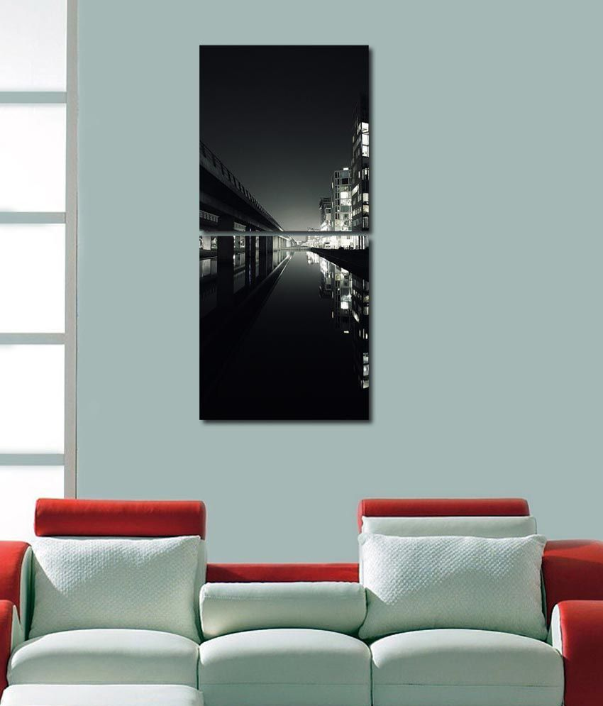 999store Glossy Printed Lake City Like Modern Wall Art Painting With Frame -2 Frames