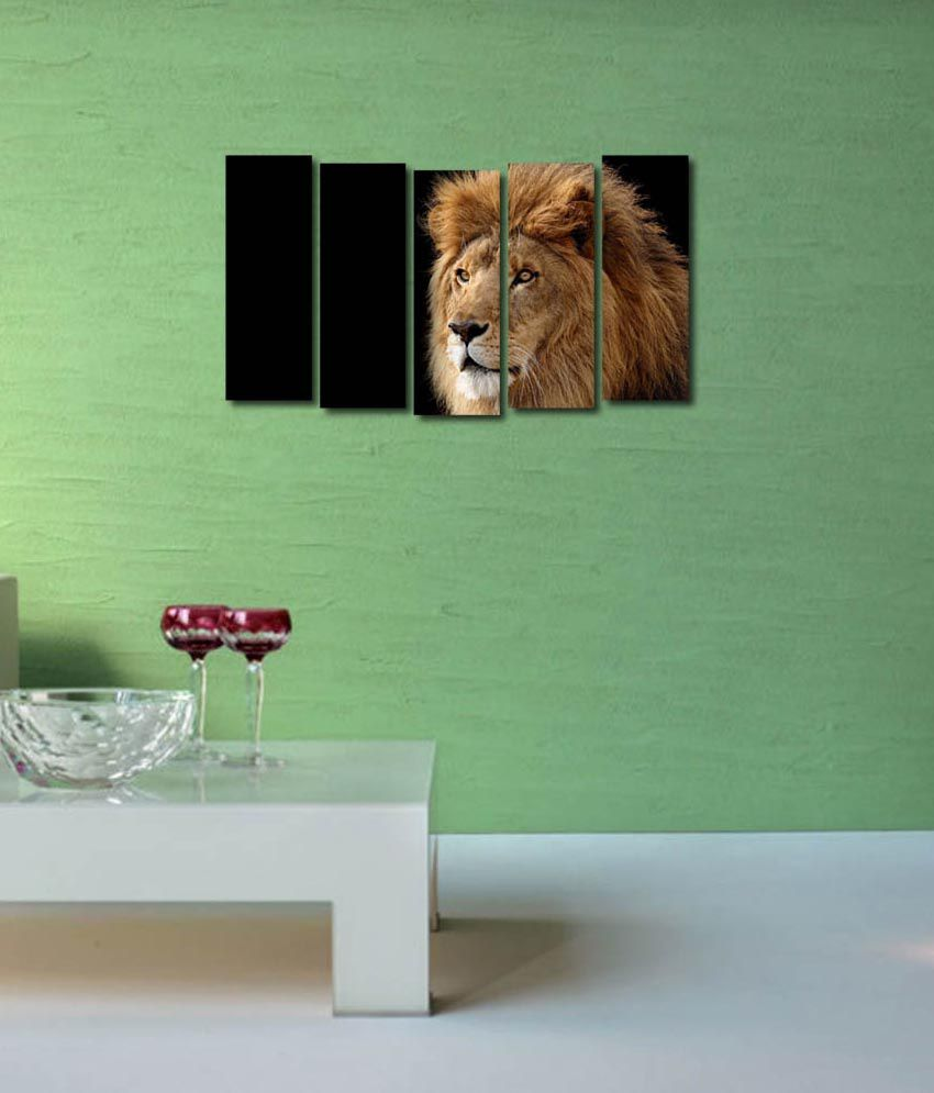 999store Glossy Printed Lion Like Modern Wall Art Painting With Frame - 5 Frames