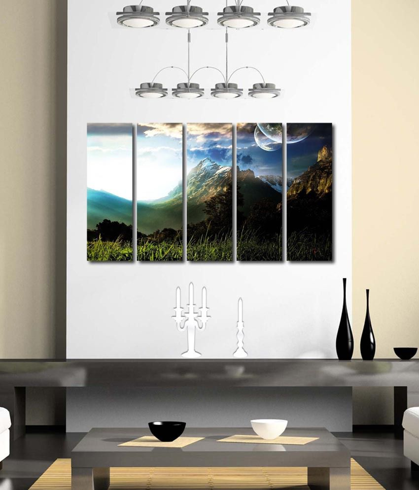 999store Glossy Printed Mountains Like Modern Wall Art Painting With Frame - 5 Frames