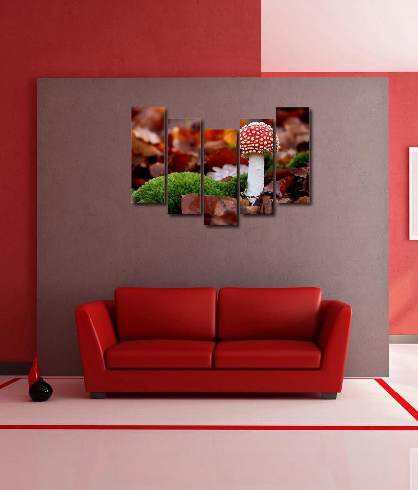 999store Glossy Printed Mushroom Like Modern Wall Art Painting With Frame - 5 Frames