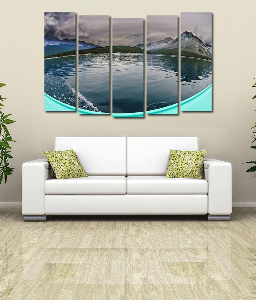 999store Glossy Printed River Like Modern Wall Art Painting With Frame - 5 Frames