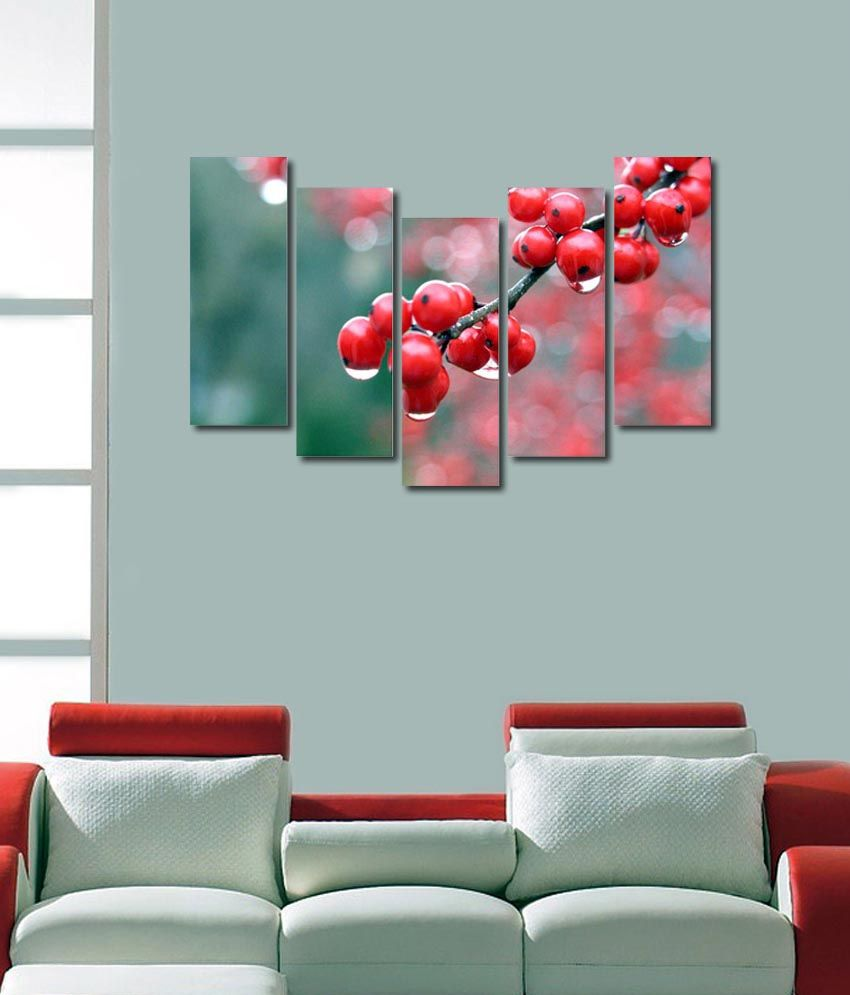 999store Glossy Printed Strawberries Like Modern Wall Art Painting With Frame - 5 Frames