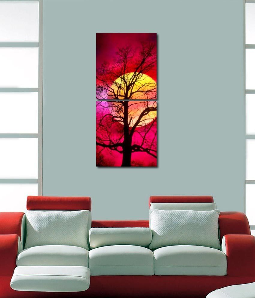 999store Glossy Printed Tree At Moons Wall Art Painting With Frame -2 Frames