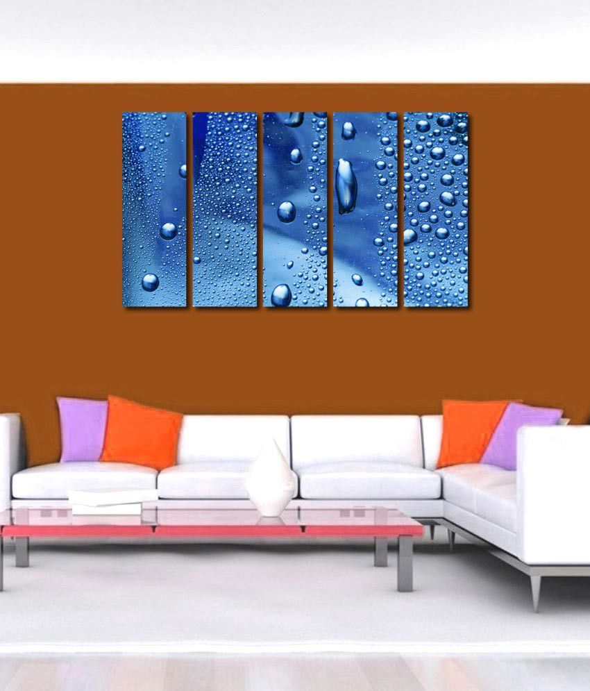 999store Glossy Printed Water Drops Like Modern Wall Art Painting With Frame - 5 Frames