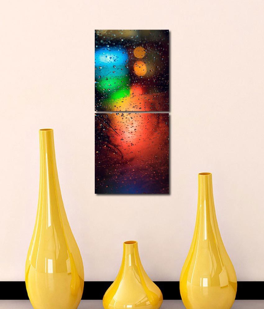 999store Glossy Printed Water Drops Like Modern Wall Art Painting With Frame-2 Frames