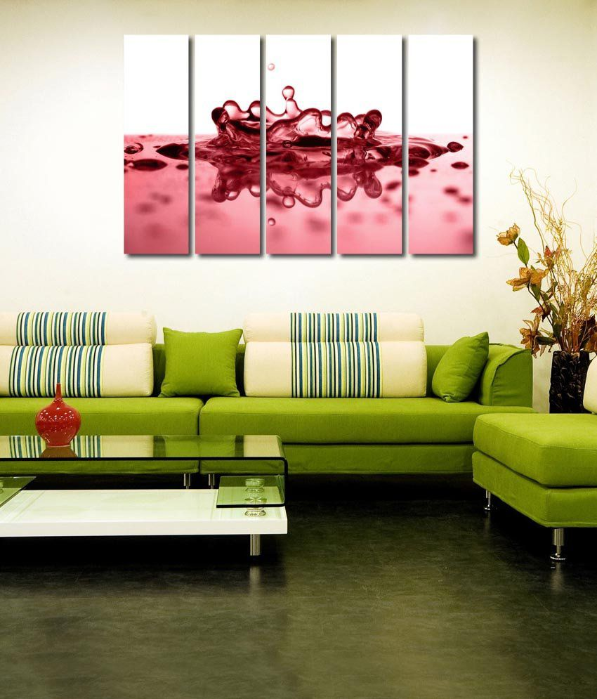 999store Glossy Printed Water Like Modern Wall Art Painting With Frame - 5 Frames