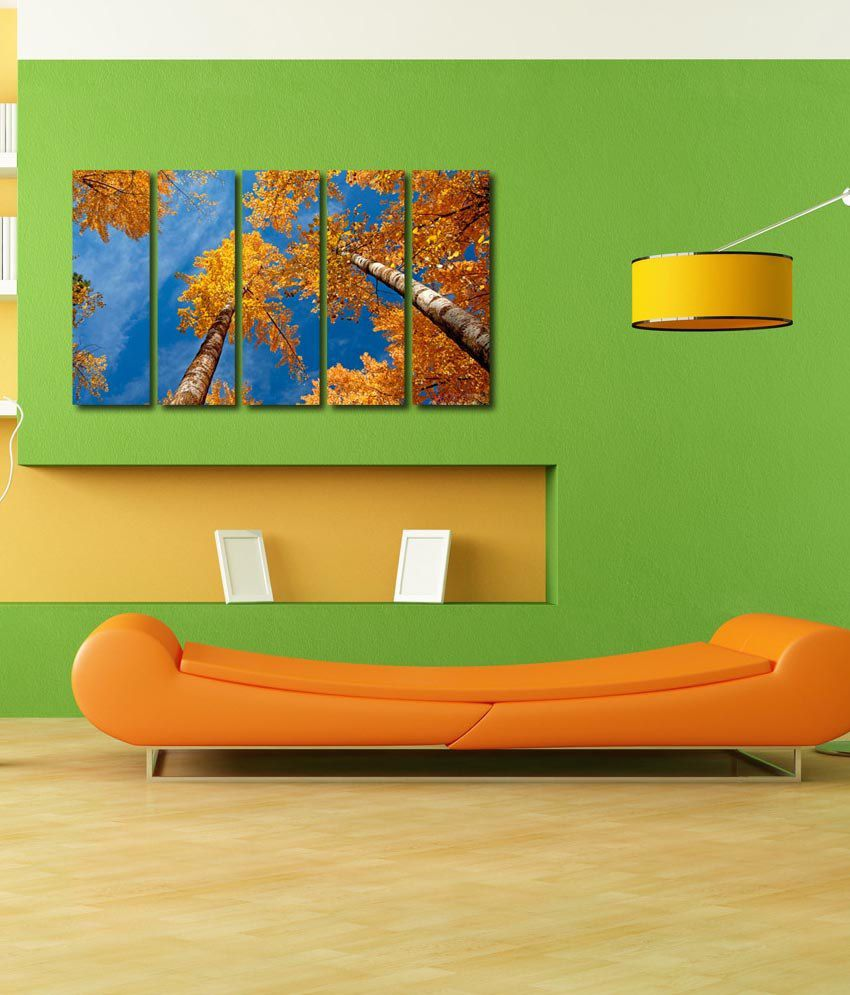 999store Glossy Printed Yellow Trees Like Modern Wall Art Painting With Frame - 5 Frames