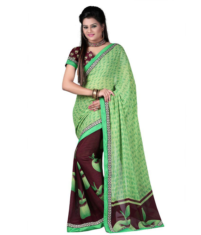 Fashiondeal Green Faux Georgette Border Work Saree With Blouse Piece