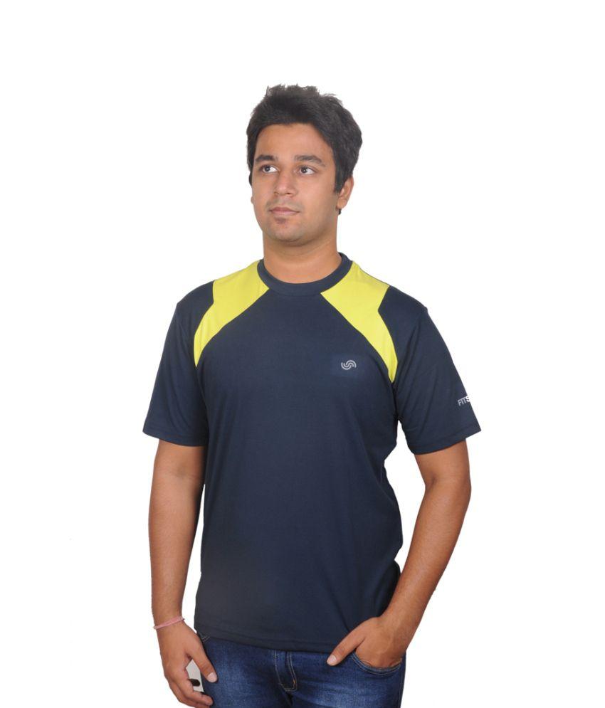 FitSoul Navy Polyester T-shirt