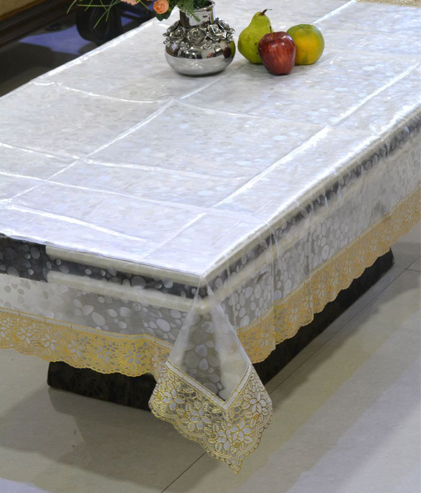 Freely Pvc Transprant With Pvc Lace Dining Table Cover (6 Chair )