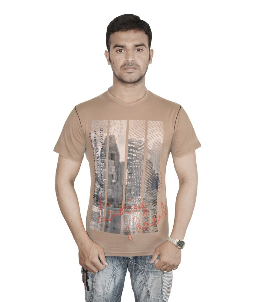 Linking Threads Brown Cotton Printed Half T-shirt For Men