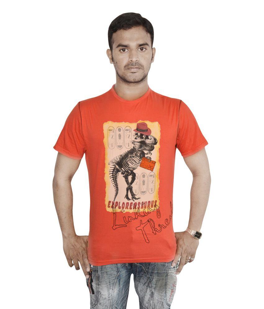 Linking Threads Orange Cotton Printed Half T-shirt For Men